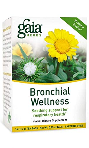 Gaia Herbs Bronchial Wellness Herbal Tea, 16 Tea Bags - Soothing Support, Promotes Respiratory Health, Caffeine Free