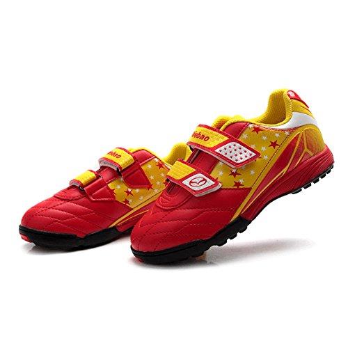 Shenn Niños Respirable Anti-Deslizante Intemperie Cuero Atlético Zapatos 13135 Rojo