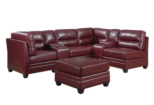 Monarch Specialties I 8303RD Red Bonded Leather Console Sofa