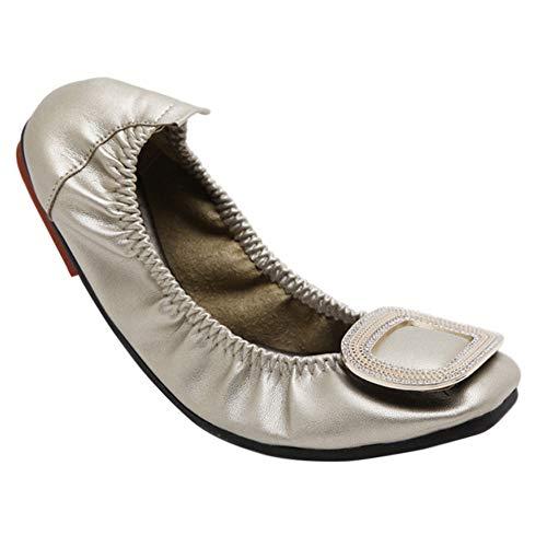 Rouler Marche Mocassins Mode Doré Ballerines Escarpins Cuir Ballet Pliable Strass Plier Confort Chaussures Appartements Femme Boucle Daytwork q6RaFP8