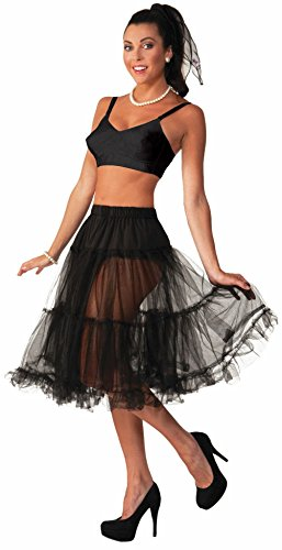 Mememall Flirtin' With The 50's Crinoline Skirt Tutu Lady Black Costume (Biker Chick Costumes)