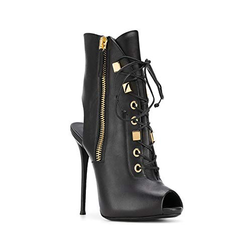 Fish Side Heel Ankle Single Ballroom High 15Cm Lace Super Black Heel Zipper Women's Shoes Boots Banquet Heel Mouth Platform Height Slim High Slingback Shoes Waterproof vwqnXcda