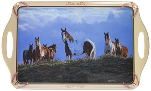 Motorhead Christmas - Motorhead Products 11 by 18-Inch Melamine Serving Tray, Featuring Wild Wings Licensed Art with Horses by Chris Cummings