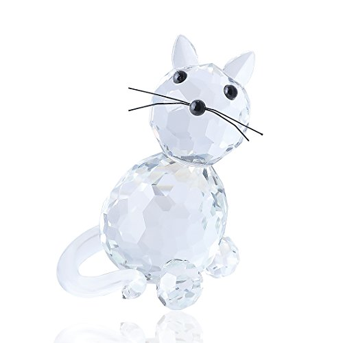 H&D Crystal Collectible Standing Cat Figurine Miniature Glass Trinket Collectible for Home Wedding Decor