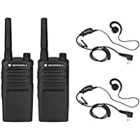 2 Pack of Motorola RMM2050 Radios with 2 Push To Talk (PTT) earpieces.
