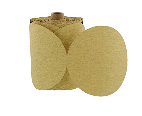 ABN 80 Grit 100 Piece 6 Inch Yellow Sanding Abrasive Disc with Sticky Backing Sandpaper Roll ()