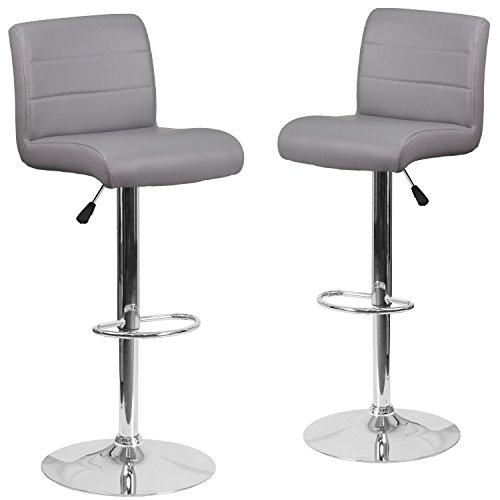 (Flash Furniture 2 Pk. Contemporary Gray Vinyl Adjustable Height Barstool with Chrome Base)