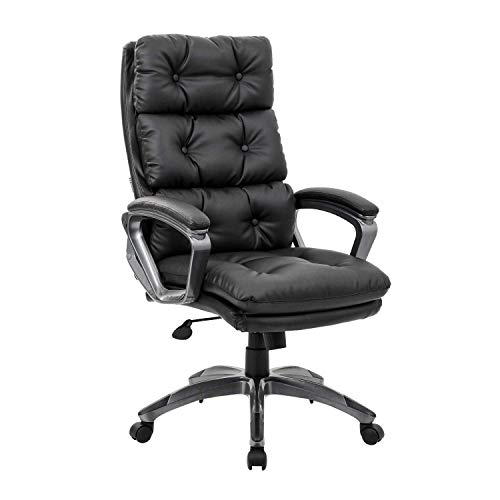 - LCH High Back Office Chair - Ergonomic Tufted Bonded Leather Computer Desk Executive Chair, Adjustable Flip-Up Arms, Double Padded Backrest Seat Cushion 360 Degree Rotation, Black