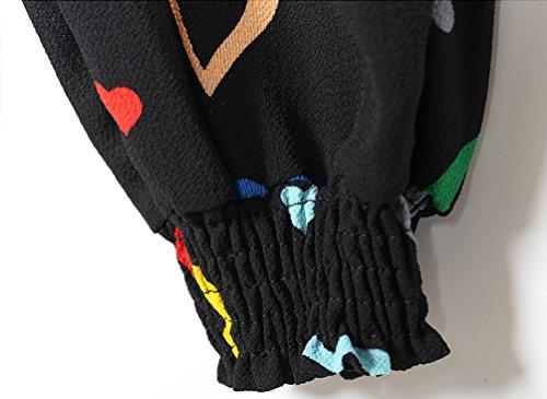 YuanDian Mujer Casual Tamaño Grande Gasa Impresión Cintura Elástica Harem Pantalones Talle Alto Ancho Nueve Puntos Pantalon Negro Corazón