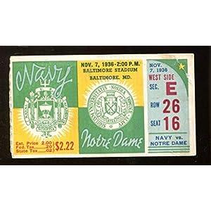 1936 Notre Dame v Navy Football Ticket 11/7 Baltimore Stadium 43432