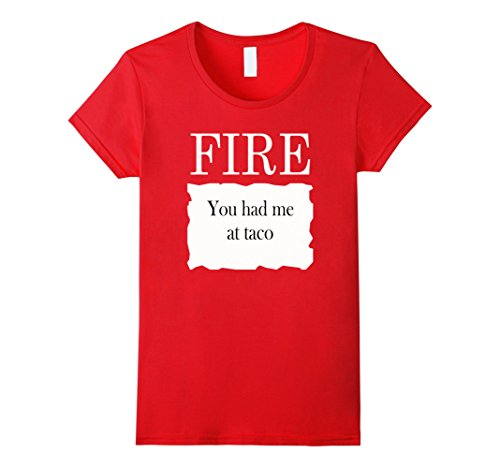 Womens Fire Taco Hot Sauce Packet Halloween Costume Group T-shirt Small Red (College Couples Halloween Costumes)