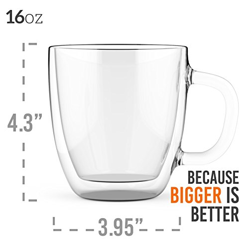Large Coffee Mugs, Double Wall Glass Set of 2, 16 oz - Dishwasher & Microwave Safe - Clear, Unique & Insulated with Handle, By Elixir Glassware by Elixir Glassware (Image #3)