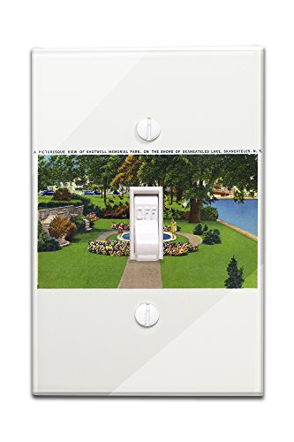 Skaneateles, New York - Shotwell Memorial Park Scene by the Lake Shore (Light Switchplate Cover)