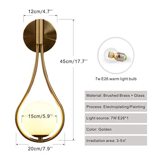 Interior Lighting BOKT Modern Glass Wall Lamp Gold Wall Mounted Sconces,Mid-Century Bedroom Bedsides Water Drop Wall Light Home Decoration… modern wall sconces