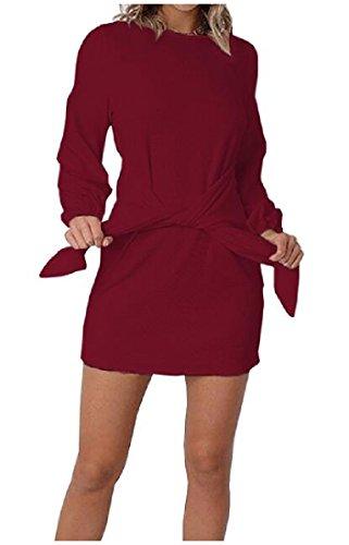 Rosso Lunga Deco In Vino Vestito donne Manica Coolred Art Vita Solido Girocollo Flapper Cintura OqdFnwH
