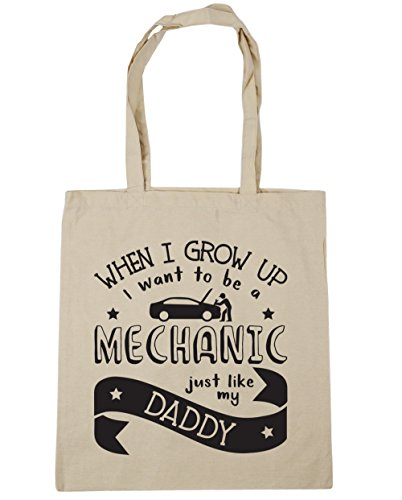 HippoWarehouse WHEN I Grow Up I Want To Be A mecánico Just Like My Daddy Tote Compras Bolsa de playa 42cm x38cm, 10litros Natural