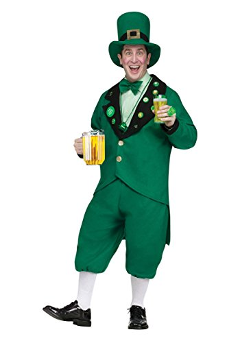 Leprechaun Movie Halloween Costumes (Funworld Mens Funny St Pat Pub Leprechaun Jacket Knickers Hat And Tie Costume, One Size)