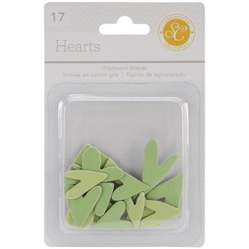 Studio Calico 17-Piece Essentials Heart Chipboard Shapes, Greens ()