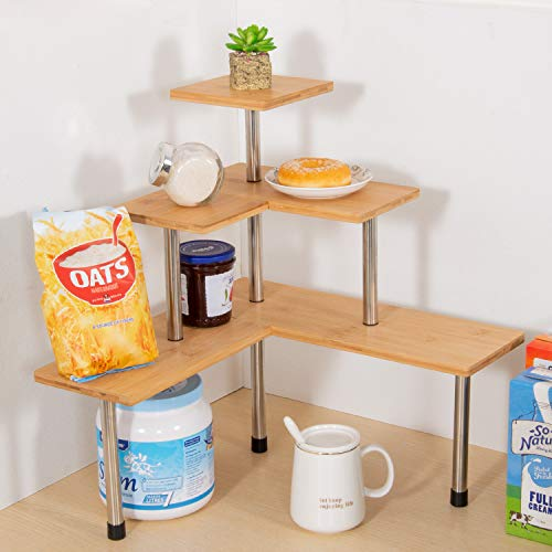 Ollieroo Compact Kitchen Counter Organizer 3 Tier Multiple Combinations Corner Shelf Bathroom Countertop Storage Rack Pricepulse