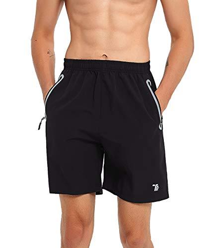 - BGOWATU Mens Running Shorts Quick Dry Reflective Workout Gym Shorts Zipper Pocket, Black