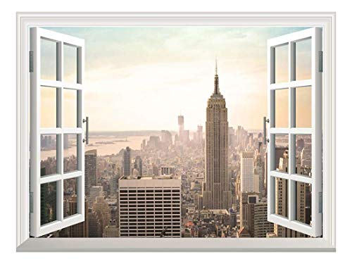 Removable Wall Sticker Wall Mural Bird's Eye View of City in Evening Creative Window View Wall Decor