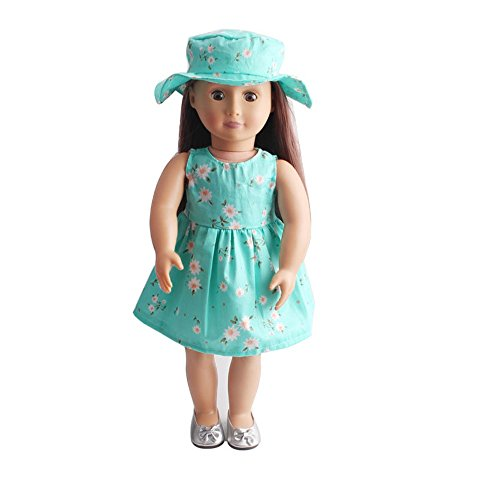 2PC Clothes Dress for 18 Inch American Girl, Doll Accessory Costumes Girl Dress+Hat Toy Clothes Party -