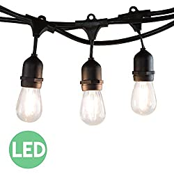 48 Ft LED Outdoor String Lights with 15 Lights (3 Extra S14...