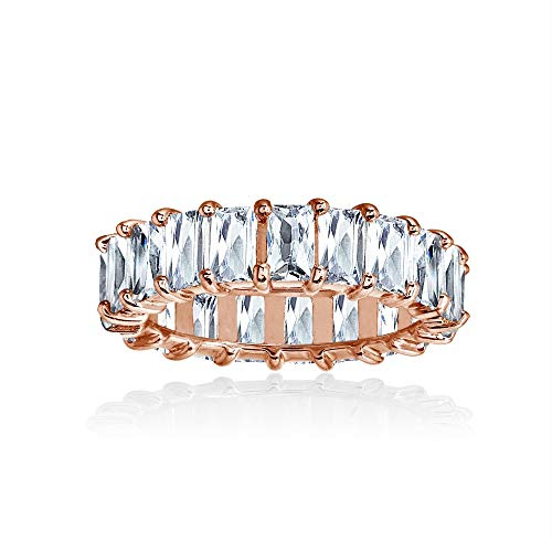 Rose Gold Flashed Sterling Silver Cubic Zirconia 5x3mm Baguette-Cut Anniversary Eternity Band Ring, Size ()