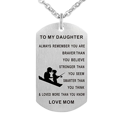(Dad Mom To my Daughter Dog Tag Pendant Necklace Military Jewelry Personalized Custom Dogtags Love Gift (Mom daughter(braver stronger smarter)))