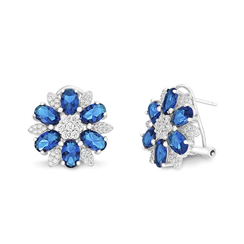INSPIRED BY YOU. Rhodium Plated Sterling Silver Oval and Cut Simulated Blue Sapphire and Cubic Zirconia Flower Shaped Stud Earrings for Women with Omega Back - Metal Oval Expanded
