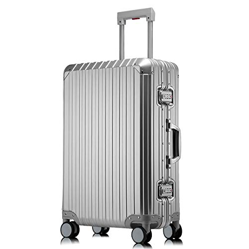 Sindermore Aluminum-magnesium alloy hard shell luggage suitcase (Silver, 25 inch)