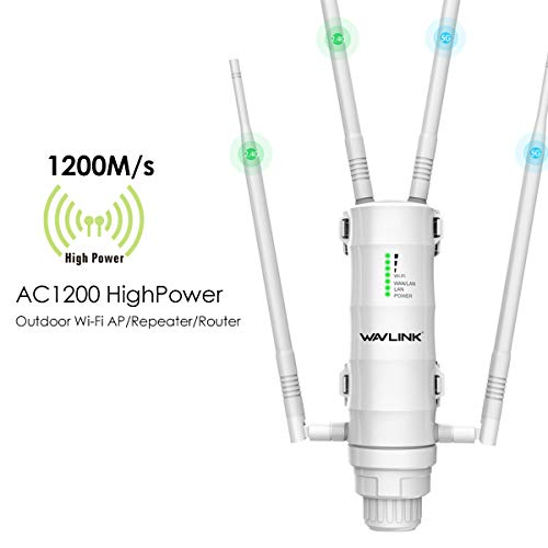 WAVLINK Aerial HD4 AC1200 High Power Long Range Outdoor Wireless Access Point Weatherproof Dual Band 2.4+5G 1200Mbps Wi-Fi AP/WiFi Extender/Router 3 in 1 with PoE, Gigabit Port (Best Outdoor Wifi Range Extender)