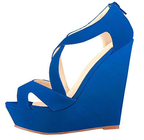 2015 Neu kommen Frühling Sommer-Frauen-Pumpen-Absatz-Schuh-Frauen-Blick-Zehe-Damen Schuhe Sandalen Größe 35-40 Blau