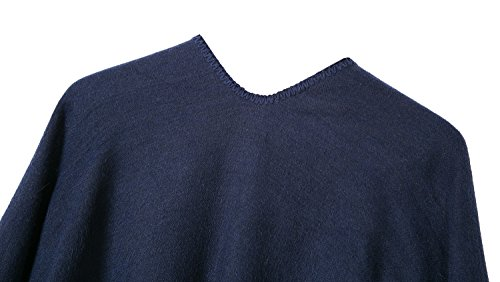Urban CoCo Women's Color Block Shawl Wrap Open Front Poncho Cape (Series 7-navy blue) by Urban CoCo (Image #3)