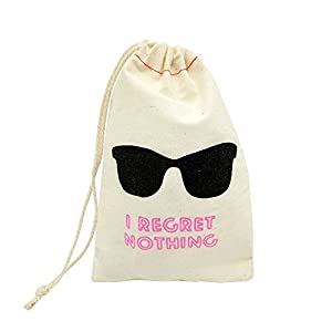 Sanrich 20pcs Wedding Favor Cotton Bags With Drawstring 4x6'' Hangover Recovery Kit I Regret Nothing Bag Eyeglass Pouch Bags For Bachelorette Party(4x6'')