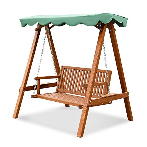 Tangkula Outdoor Patio Swing Wooden Loveseat Hammock Canopy Garden Poolside
