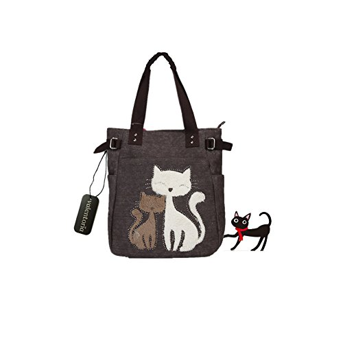 Prime Sale Day Deals Sale Offers 2019-Valentoria Cute Cat Design Multifunction Women's Canvas Zipper Closure Handbag Shoulder Lunch Tote Bag with Large Capacity Best Gifts for Teen Girls(Brown)