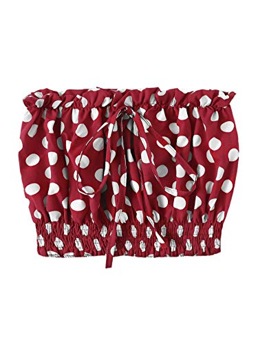 SheIn Women's Sexy Strapless Polka Dot Drastring Crop Bandeau Tube Top Small Burgundy ()