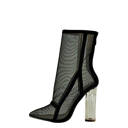 CAPE ROBBIN Brady 2 Women's Point Toe Mesh Lucite Heel Boot JYI2163 (10, Black)