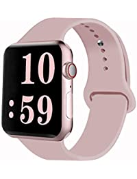 Sport Band Compatible for Apple Watch Band 38mm 40mm 42mm 44mm, Soft Silicone Sport Strap Replacement Bands Compatible with 2019 Apple Watch Series 5, iWatch 4/3/2/1, Sport, Nike+, Edition