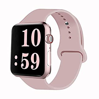 VATI Sport Band Compatible for Watch Band 38mm 40mm, Soft Silicone Sport Strap Replacement Bands Compatible with Watch Series 5/4/3/2/1, 38MM 40MM S/M (Pink Sand)