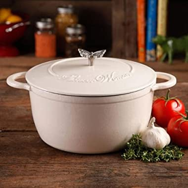 The Pioneer Woman Timeless Beauty 5-Quart Coated Cast Iron Dutch Oven with Stainless Steel Butterfly Knob (Linen)