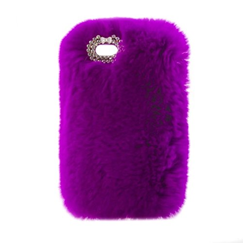Case for ipod Touch 6,Super Deluxe Luxury Faux Rabbit Fur Fuzzy Plush Beaver Rex Rabbit Hair Fur Case for Apple iPod touch 5 6th Generation (Bowknot Purple)