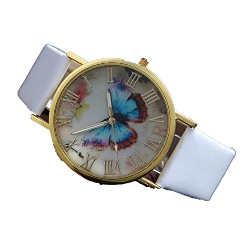 Womens Butterfly Style Leather Band Analog Quartz Wrist Watch Black - 7