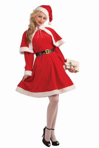 Forum Novelties Women's Sweet Miss Santa Suit, Red/White, One Size Costume
