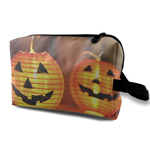 Cosmetic Bag Halloween Jack-o'-lantern Makeup Pouch Toiletries Bags Storage Resistance Carry Handle Pen Pencil Power Lines Travel Cases]()