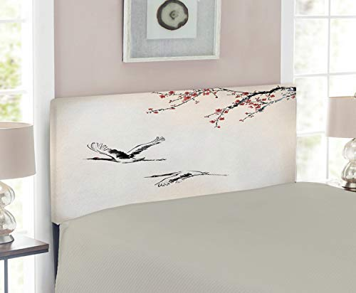 Size Cherry Headboard Twin (Ambesonne Birds Headboard for Twin Size Bed, Branches of Japanese Cherry Tree with Flying Swallows in The Air Spring Colors, Upholstered Metal Headboard for Bedroom Decor, Red Grey Ecru)