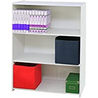 Kings Brand Furniture 3-Shelf Bookcase Storage Organizer, White
