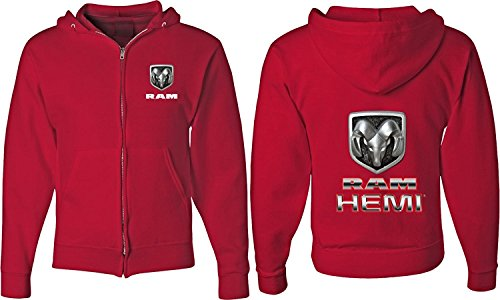 RAM Hemi Logo Dodge Mopar Badge Full Zip UP Hoodie Sweatshirt (F&B), Red, XL