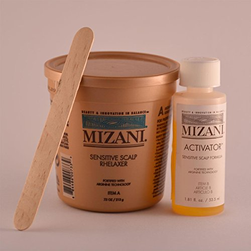 Mizani Sensitive Scalp Rhelaxer Kit 4 X 7.5Oz Sensitive Scalp Rhelaxer Base, 4 X 2Oz Sensitive Scalp Activator, 4 Wooden - Sensitive Mizani Scalp